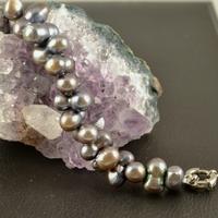 """Bracelet perle d'eau douce """"ronde jumelle croisé"""" noir"""