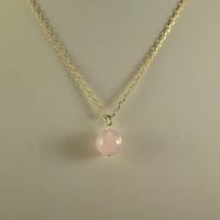 """Pendentif quartz rose """"ronde 14 mm"""""""