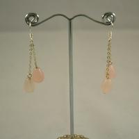 """Boucle d'oreille quartz rose """"chaîne goutte d'eau"""""""