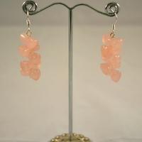 """Boucle d'oreille quartz rose """"double coeur croisé"""""""