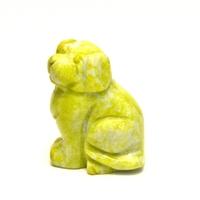 """statuette minéraux """"chien"""", jade néphrite jaune"""