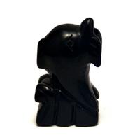 """statuette minéraux """"dauphin"""" en pierre naturelle d'obsidienne"""