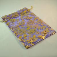 """5 grandes  pochettes cadeaux organza violet motif """"fleur"""""""