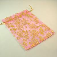 """5 grandes  pochettes cadeaux organza rose motif """"fleur"""""""