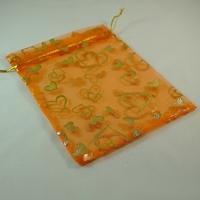 "5 grandes  pochettes cadeaux organza orange motif ""coeur"""