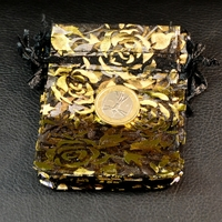"""10 petites pochettes cadeaux organza , noir """"fleur"""""""