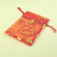 """10 petites pochettes cadeaux organza , rouge """"cœur"""""""