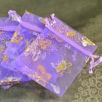 """10 petites pochettes cadeaux organza , violet """"papillon"""""""