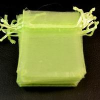 10 petites pochettes cadeaux organza , vert uni