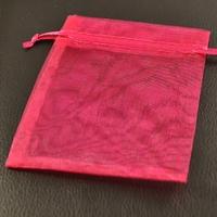 10 pochettes cadeaux taille moyenne en  organza, rose fuschia