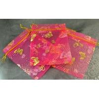 "10 pochettes cadeaux taille moyenne en  organza, rose fuchsia ""papillon"""