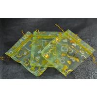 10 pochettes cadeaux taille moyenne en  organza, vert anis papillon
