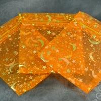 10 pochettes cadeaux taille moyenne en  organza, orange