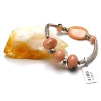 "Bracelet Opale rose des Andes ""double tubes"""