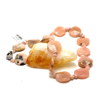 "Collier opale rose ""palet ronde"""