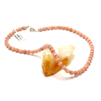 "Collier opale rose ""mini rondelle - ronde 4 mm"""
