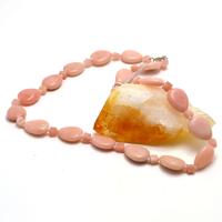 """Collier opale rose des Andes """"goutte d'eau plat"""""""
