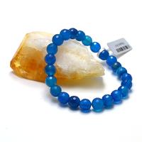 """Bracelet agate teinté bleu """" ronde facettée 8 mm"""""""
