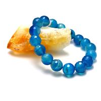 """Bracelet agate teinté bleu """" ronde facettée 12 mm"""""""