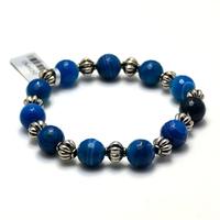 """Bracelet agate teintée bleu """"ronde facettée 10 mm -métal argenté"""""""