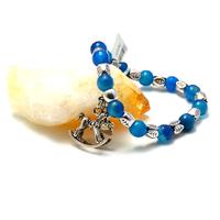 """Bracelet agate teintée bleu """"ronde 8 mm - breloque argenté"""""""