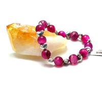 """Bracelet agate fuschia """"ronde 8 mm -métal argenté"""""""