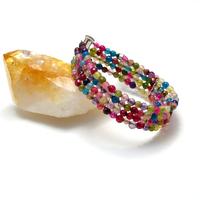 """Bracelet agate teintée quatre rangs """" ronde facettée 6 mm"""""""