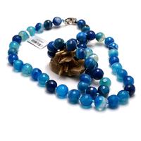"""Collier long agate teinté bleu """" ronde facettée 10 mm"""""""