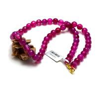 "collier agate teintée fuchsia "" ronde facettée 8 mm"""