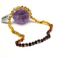 collier ambre pour bébé , perle ronde ,couleur dégradée