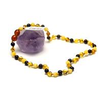 collier ambre pour bébé , perles rondes, couleurs intercalées