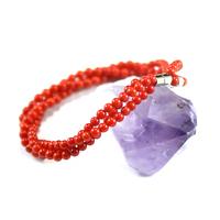 bracelet corail /bambou de mer , triple rangs