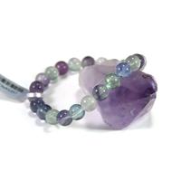 Bracelet fluorite , perle ronde 8 mm