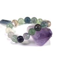 bracelet fluorite , perle ronde 14 mm