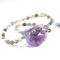 """collier fluorine , """" perle ronde facettée 6 mm-perle argentée 3 mm)"""