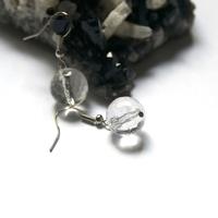"""Boucle d'oreille Cristal de roche """"ronde facettée 12 mm"""""""
