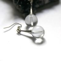 """Boucle d'oreille quartz , """" ronde 12 mm -lustre"""""""