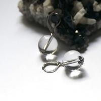 """Boucle d'oreille quartz - """" perle ronde 14 mm - coupelle argenté"""""""