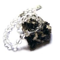 """collier cristal de roche ,""""ronde facettée 12 mm"""""""