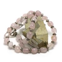 """Collier quartz rose """" galet baroque - perle argenté"""""""