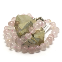 Collier quartz rose ' rondelle baroque ""