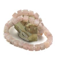 """collier quartz rose """" perle cube"""""""
