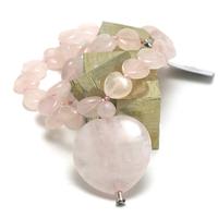 """Collier quartz rose """" coeur """", avec pendentif  """" grand coeur"""""""