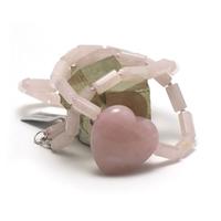 """collier quartz rose """"tube hexagonale"""",pendentif """"petit coeur"""""""