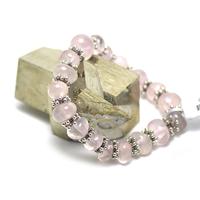 """bracelet quartz rose """"rondelle baroque - perle argenté"""""""