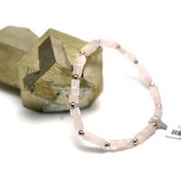 """bracelet quartz rose """"mini cube - perle argenté"""""""