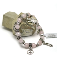"bracelet quartz rose ""ronde facettée 8 mm-multi breloque"""