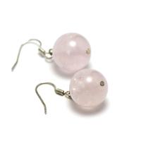 """Boucle d'oreille quartz rose """"perle ronde 14 mm"""""""
