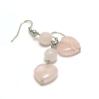 """Boucle d'oreille quartz rose """" coeur - ronde facettée 6 mm"""""""