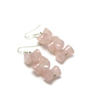 """boucle d'oreille quartz rose """" double coeur"""""""
